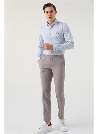 D'S Damat Ds Damat Desenli Keten Kumaş Pantolon Bordo
